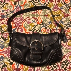 Black leather Coach hobo bag small